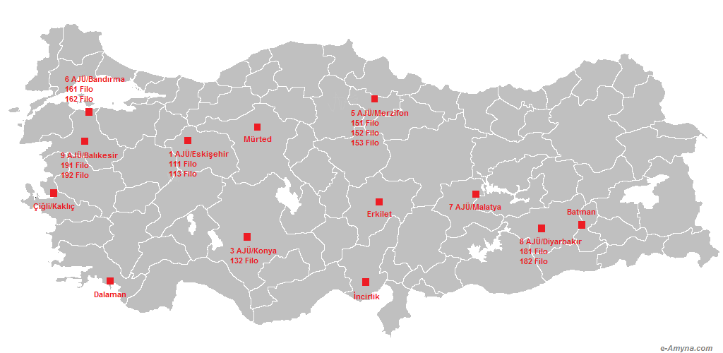 Οι ενεργές Πολεμικές Μοίρες (Filo) στις Κύριες Αεροπορικές Βάσεις (AJÜ) της ΤΗΚ μετά τις πρόσφατες ανακατατάξεις.