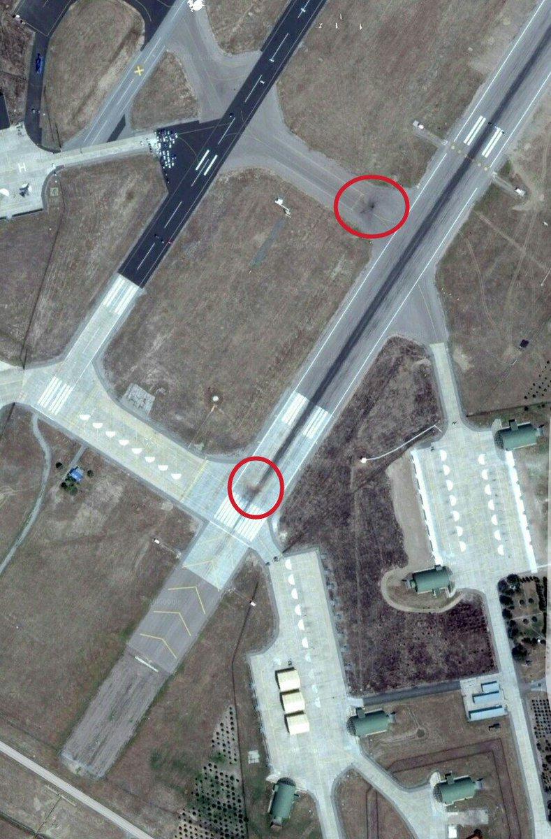 τα σημάδια απο τον βομβαρδισμό των F-4 στα νότια συνδετήρια της AB Akinci...